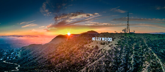 Los Angeles Hollywood sign with sun-burst