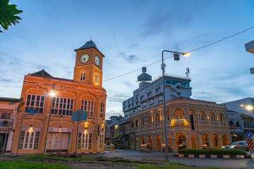 Phuket,Thailand-June,26,2020:the architectural style in Phuket city was built in Chino portuguese style..clock tower is a landmark of Phuket city.