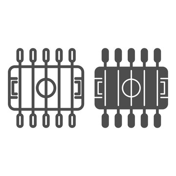 Table football line and solid icon, Amusement park concept, foosball sign on white background, Table soccer icon in outline style for mobile concept and web design. Vector graphics.