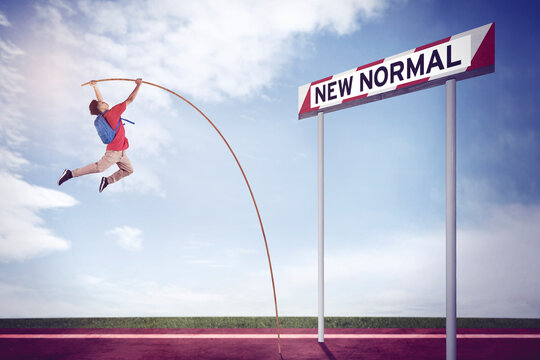 Student doing pole vault with New Normal text