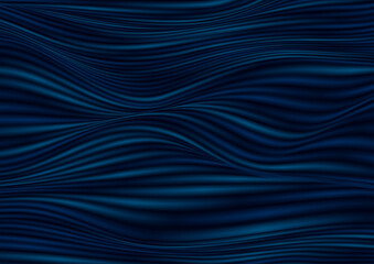Wall Mural - Dark blue smooth blurred liquid waves abstract background. Vector illustration