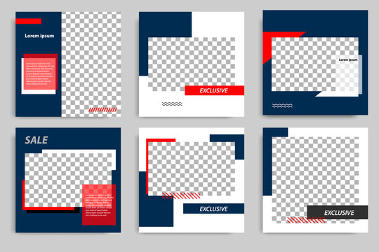 Minimal layout square banner in blue red frame color. Editable geometric product catalog sale banner template for social media post, stories, story, flyer.