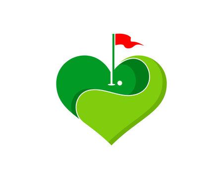 Love golf sport with heart shape