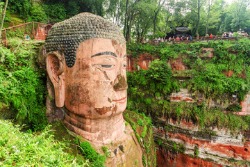 Side view of the Leshan Giant Buddha in China
