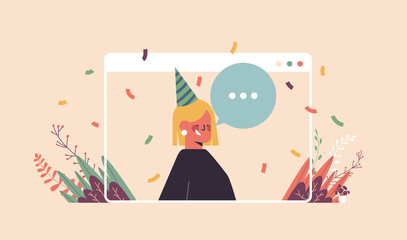 woman in funny festive hat celebrating online birthday party happy girln in computer window celebration self isolation quarantine concept portrait horizontal vector illustration