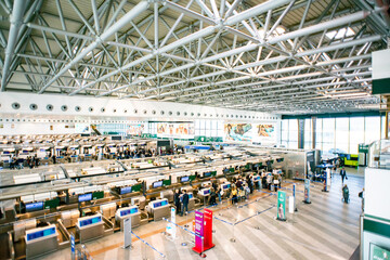 Milan. Italy - May 23, 2019: Interior of Malpensa Airport. Airport Hall of Departures.