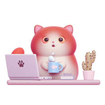 Surprised little kawaii red cat with open mouth, big orange eyes working from home with laptop. Cartoon funny fat cat with white belly holding warm cup of tea. 3d render isolated on white backdrop