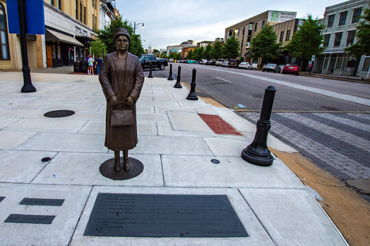 Statue and plaque honoring Rosa Parks in downtown Montgomery