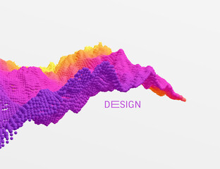 Wall Mural - 3D wavy background. Array with dynamic emitted particles. A wave formed from many spheres. Abstract vector illustration. Design template. Modern pattern.