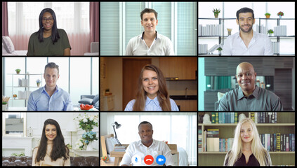 Multi ethnic group of business people working from home and office, talking to colleagues in webcam group video call conference technology on screen online in quarantine in corona virus pandemic. Team