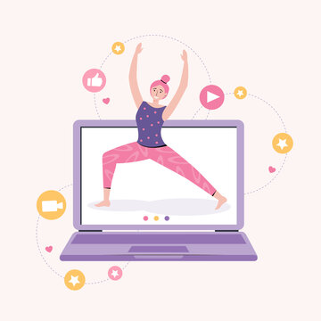 Online yoga with instructor at home. Personal sports training. Fitness blog and Workout app concept. Women blogger shows a fitness exercise. Active lifestyle and sports training. Vector illustration.
