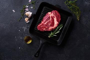 Flat lay Black Angus prime beef chuck roll steak