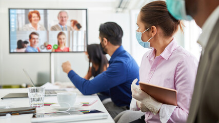 Conference call with video conference for business meeting