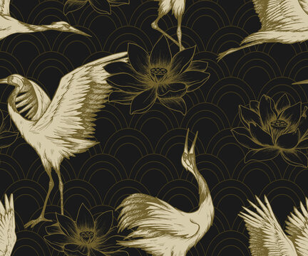Seamless pattern with japanese cranes and lotuses. Hand drawn