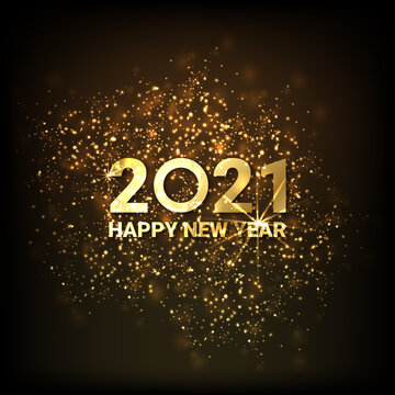 Greeting card Happy New Year 2021. Beautiful Square holiday web banner or billboard with text Happy New Year 2021 on the background of fireworks. - Vector