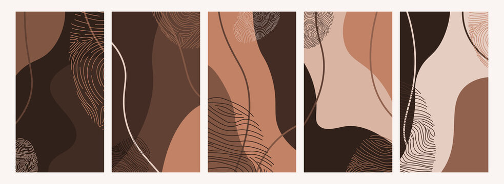 Social media stories backgrounds with abstract skin tone colors, hand painted shapes.