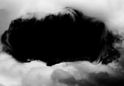 White smoke cloud isolated on black background