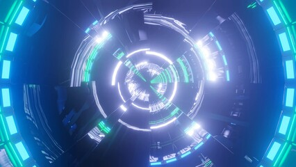 Fototapeta 3D rendering of white and green lights forming a circle in a dark blue background