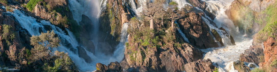 Stitched panorama of part of the Epupa waterfalls
