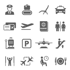 Airport icon set, travel by airplane and transportation