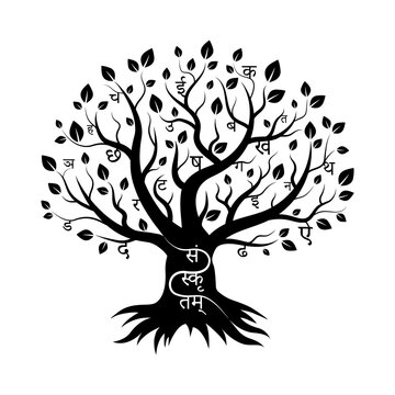 Sanskrit tree, logo. Devanagari letters grow on branches. The symbol of the language for wise people. Lettering white on black. Isolated.