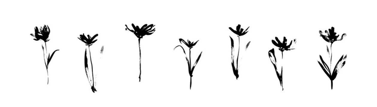 Grunge black flowers set drawn by ink. Dirty decorative vector floral collection, isolated on white background. Modern expressive brush strokes graphic art