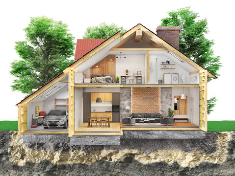 House at the garden zone , 3d illustration