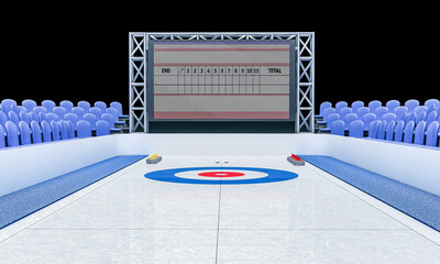 3D Illustration of Ice arena for playing curling