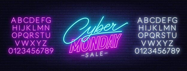 Fototapete - Cyber Monday sale neon sign. Neon alphabet on brick wall background. Template for a design.