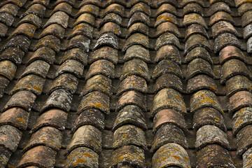 Fototapeta Francja , Prowansja , sierpień 2019 , dachówki na dachu budynku w Aigues-Mortes obraz