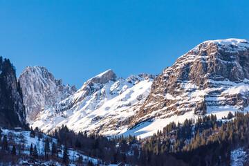 View of the glärnisch peaks in Glarus, Switzerland