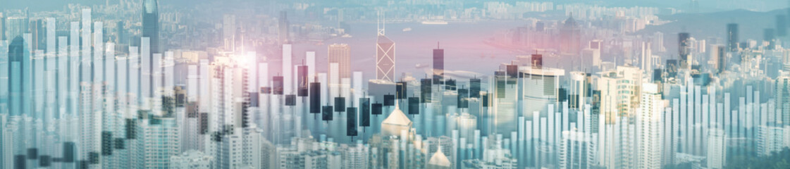 Photo sur Aluminium Hong-Kong Website header and banner of Hong Kong cityscape with skyscarapers. Trading and stock markets.