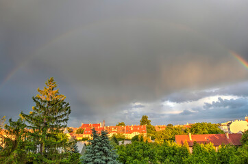 Wall Mural - Double rainbow over Szeged, Hungary