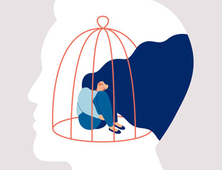 Transgender woman locked in a cage in the male head. Concept of person cross-gender behavior. Restrictions the ability of transgender in society. Vector human character illustration