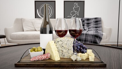 3D rendering of a board with cheese and wine on it with a sofa and pictures on the background