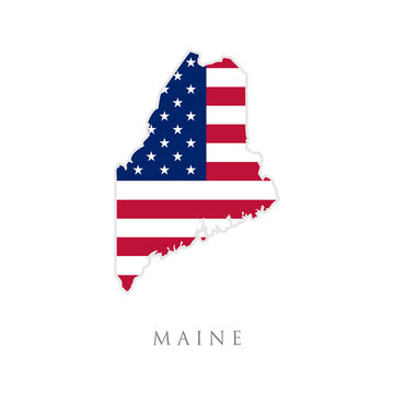 Shape of Maine state map with American flag. vector illustration. can use for united states of America indepenence day, nationalism, and patriotism illustration. USA flag design