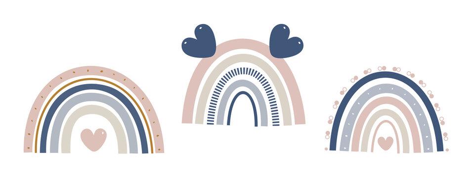 Rainbow, Baby rainbow, Boho Rainbow, Cute colorful rainbow clip art, Nursery Rainbow, Natural Tones Clip Art Rainbow, Kids Decor, Nursery Decor, Rainbow baby, Illustration, Childish flat vector