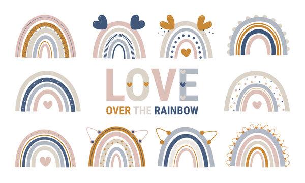 Rainbow, boho Rainbow, cute, colorful, rainbows, clipart, Natural Tones Clip Art Rainbow, Kids Decor, Nursery Decor, Pastel Scandinavi, Baby rainbow, Illustration, Childish flat vector, T-shirt print