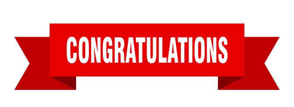 congratulations ribbon. congratulations isolated band sign. congratulations banner