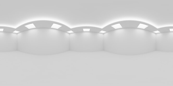 Еmpty white room with square embedded ceiling lamps HDRI map