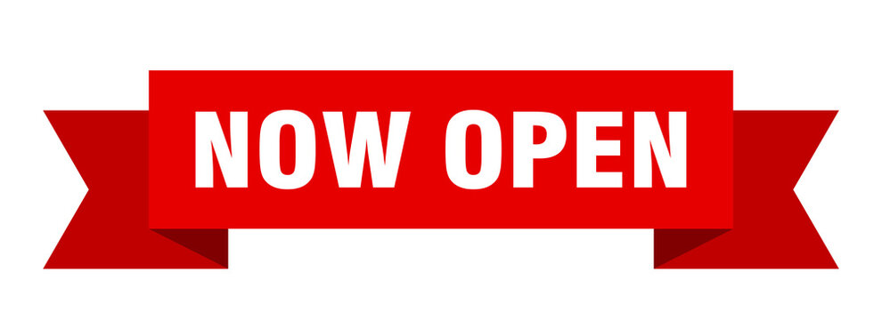 now open ribbon. now open isolated band sign. now open banner