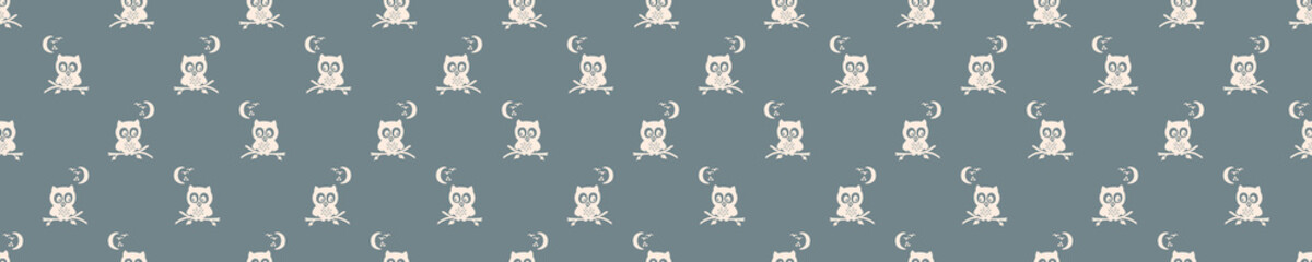 Seamless background night owl forest banner. Gender neutral baby border pattern. Simple whimsical minimal earthy 2 tone color. Kids nursery animal decor edging fashion ribbon trim.