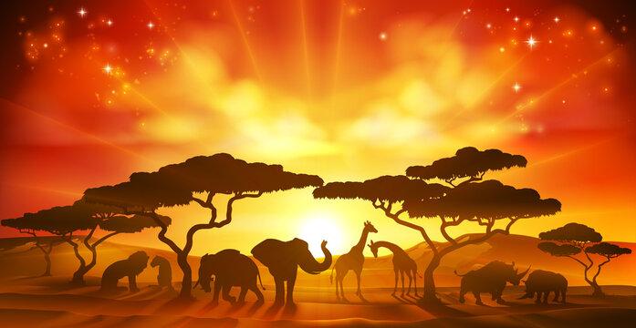 An African savannah landscape scene with safari animal silhouettes