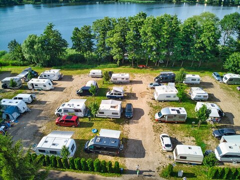 Caravan pitches on the camping site