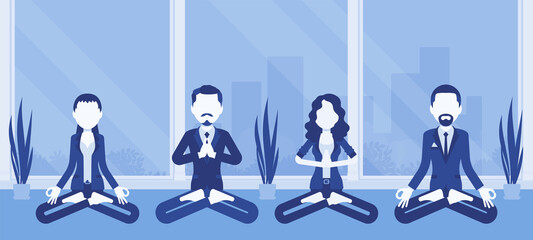 Office yoga group of business people practicing meditation in Padmasana pose, Lotus exercise, yogic relaxation techniques for physical, mental health at work. Vector creative stylized illustration