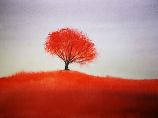 Poster Cuban Red watercolor landscape mountain fog maple tree stand alone and leaf falling to the wind in season. traditional oriental ink asia art style