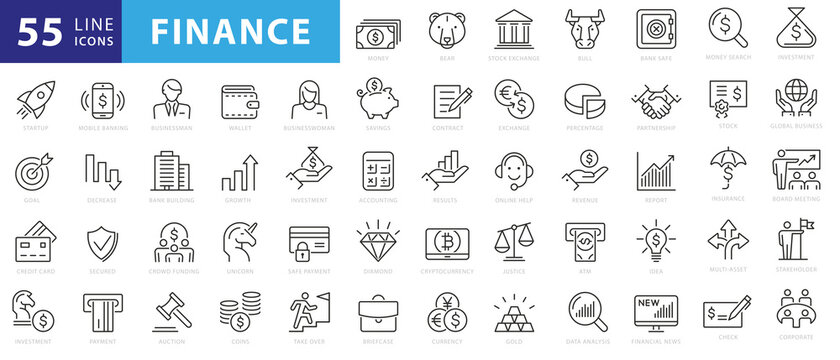 Vector business and finance editable stroke line icon set with money, bank, check, law, auction, exchance, payment, wallet, deposit, piggy, calculator, web and more isolated outline thin symbol
