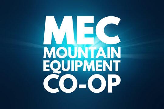 MEC - Mountain Equipment Co-Op acronym, concept background