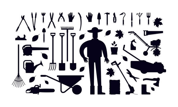 Stock vector illustration of garden tool kit and gardener