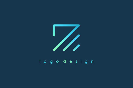 Abstract Initial Letter Z Logo. Blue Light Square Geometric Line Style isolated on Blue Background. Usable for Business and Branding Logos. Flat Vector Logo Design Template Element.